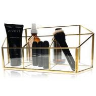OnDisplay Isla Deluxe Glass/Golden Steel Cosmetic/Desktop Organization Station - Perfect for Vanity, Bathroom, Office, or Desktop - Classic Versatile Organizer