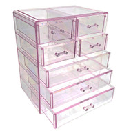 OnDisplay Cosmetic Makeup and Jewelry Storage Case Display - 7 Drawer Lilac Design - Perfect for Vanity, Bathroom Counter, or Dresser