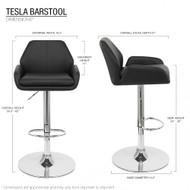 "Set of 4 Tesla Contemporary ""Leather"" Adjustable Barstool - Espresso"