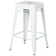 """Set of 4 Ajax 24"""" Contemporary Steel Tolix-Style Barstool - White"""