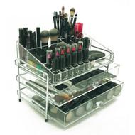 OnDisplay 3 Tier Chromed Steel Frame Acrylic Cosmetic/Makeup Organizer