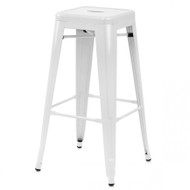 """Set of 4 Ajax 30"""" Contemporary Steel Tolix-Style Barstool - White"""