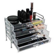 OnDisplay Cosmetic Makeup and Jewelry Storage Case Display - 4 Drawer Chromed Steel Tiered Design - Perfect for Vanity, Bathroom Counter, or Dresser