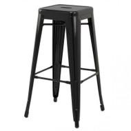 "Set of 2 Ajax 30"" Contemporary Steel Tolix-Style Barstool - Black"