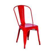 Set of 4 Cassandra Contemporary Steel Stackable Tolix-Style Dining Chair - Red