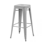 """Set of 2 Ajax 30"""" Contemporary Steel Tolix-Style Barstool - Matte Silver"""