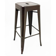 """Set of 4 Ajax 30"""" Contemporary Steel Tolix-Style Barstool - Distressed Copper"""