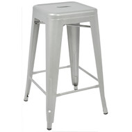 """Set of 2 Ajax 24"""" Contemporary Steel Tolix-Style Barstool - Matte Silver"""