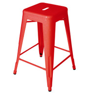 "Set of 2 Ajax 24"" Contemporary Steel Tolix-Style Barstool - Red"
