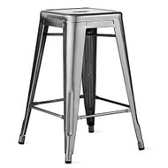 "Set of 4 Ajax 24"" Contemporary Steel Tolix-Style Barstool - Gunmetal"