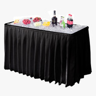 Modern Home 4' Party Ice Bin Table with Skirt - Portable Folding Tailgating Table for Ice Cold Drinks, Food, Platters, Beer and more (Black)