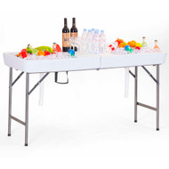 Modern Home 5' Foldable Party Ice Bin Table with Skirt - Portable Folding Tailgating Table for Ice Cold Drinks, Food, Platters, Beer and more (White)