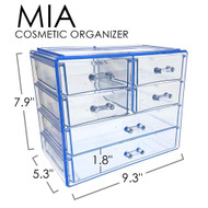 OnDisplay Cosmetic Makeup and Jewelry Storage Case Display - 6 Drawer Design - Perfect for Vanity, Bathroom Counter, or Dresser (Blue)