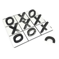 OnDisplay 3D Luxe Acrylic Mirrored Effect Tic Tac Toe Board Game Set - Half Letter Mirror 3D Visual Style (Black)