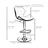 Set of 4 Spyder Contemporary Adjustable Barstool - Modern Comfortable Adjusting Height Counter/Bar Stool (White/Gray)