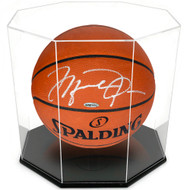 OnDisplay Deluxe Octagon UV-Protected Basketball/Soccer Ball Display Case - Black Base