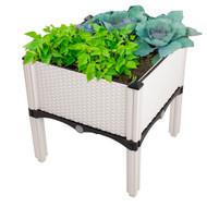 Modern Home Raised Planter Kit - Stackable Modular Flower/Garden Bed Kit - Stacking Brown/White Planter Sets for Home, Restaurant, Office, Garden (White, Set of 4)