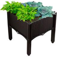 Modern Home Raised Planter Kit - Stackable Modular Flower/Garden Bed Kit - Stacking Brown/White Planter Sets for Home, Restaurant, Office, Garden (Brown)
