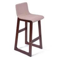 Set of 4 Chelsea Contemporary Wood/Fabric Barstool - Beige Linen