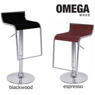 Set of 4 Omega Contemporary Wooden Adjustable Barstool - Blackwood