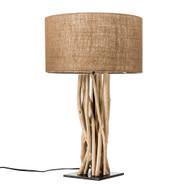 Modern Home Driftwood Nautical Wooden Table Lamp w/Block Base - Light for Seaside/Beach House/Ocean Theme Décor