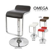 "Set of 4 Omega ""Leather"" Contemporary Adjustable Barstool - Vanilla White"