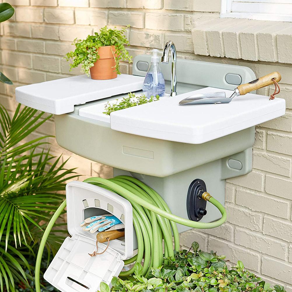 Modern Home Wall Mounted Outdoor Garden Sink w/Hose Holder ...