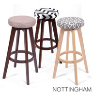 Set of 2 Nottingham Contemporary Wood/Fabric Barstool - Beige Linen