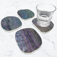 Modern Home Set of 4 Natural Fluorite Stone Coasters with Gold/Silver Edge