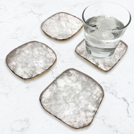 Modern Home Set of 4 Natural Rock Crystal Quartz Stone Coasters with Gold/Silver Edge
