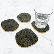 Modern Home Set of 4 Natural Dalmatian Jasper Stone Coasters with Gold/Silver Edge