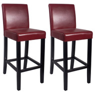 Set of 2 Kendall Contemporary Wood/Faux Leather Barstool - Red Apple