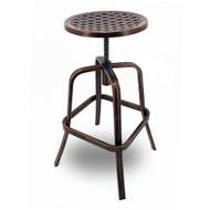 Set of 2 Neptune Rotating Adjustable Height Cast Aluminum Outdoor Chair/Bar Stool