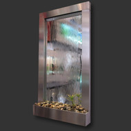 Modern Home Stainless Steel Wall Waterfall Fountain w/Mirror - Indoor/Outdoor WW4