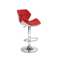 Set of 4 Modern Home Spyder Contemporary Adjustable Barstool - Comfortable Adjusting Height Counter/Bar Stool (White/Red)