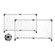 """Twin Soccer/Hockey goals with Nets, Stakes, 6"""" Ball and Pump"""