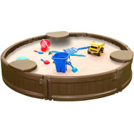 Modern Home 4ft Round All Weather Resistant Outdoor Sandbox Kit w/Cover, Durable All-Weather Circle Outdoor Play Box