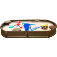 Modern Home 6ft Oval All Weather Resistant Outdoor Sandbox Kit w/Cover, Durable All-Weather Circle Outdoor Play Box