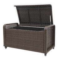 Modern Home Coconut Bay Weatherproof Outdoor Rattan Storage Box w/ Liner