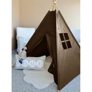 Modern Home Children's Canvas Tepee Set with Travel Case - Brown Window