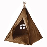 Modern Home Children's Canvas Tepee Set with Travel Case - Brown Window