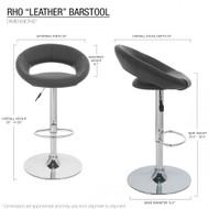 "Set of 2 Rho ""Leather"" Contemporary Adjustable Barstool - Black Licorice"