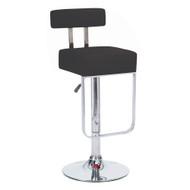 Set of 4 Modern Home Blok Contemporary Adjustable Height Bar/Counter Stool - Chrome Base/Footrest Barstool (Black Licorice)