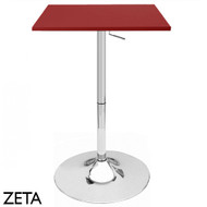 """Set of 4 Modern Home Zeta Contemporary Adjustable Height 24"""" Bar Table - Polished Chrome Steel Base Adjusting Belly Table - Adjusts from 28"""" to 36"""" Tall (Red)"""