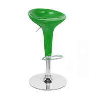 Set of 4 Alpha Contemporary Bombo Style Adjustable Height Barstools - ABS Molded Bar Chair - Polished Chrome Steel Base with Floor Protecting Rubber Ring (Watermelon Green)