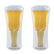 Modern Home Inverso Double Wall Borosilicate Inverted Beer Glass - Set of 2