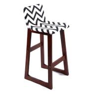Set of 4 Chelsea Contemporary Wood/Fabric Barstool - Black/White Chevron