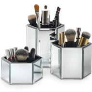 OnDisplay Tressa Set of 3 Hexagon Mirrored Trays for Makeup/Cosmetics, Brushes, Office, Jewelry and Accessories