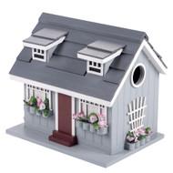 Deluxe Handcrafted Outdoor Wooden Birdhouse, Bird-Friendly Perch (Ocean Bungalow Blue Gray Roof)
