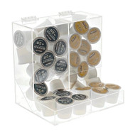 OnDisplay Acrylic 2 Section Flip Top Storage Bin for Coffee Pods/Candy/Tea/Bulk Items - Office/Home/Retail Store Display Organizer